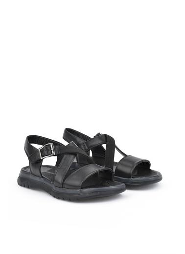 Ziya  Erkek Hakiki Deri Sandalet 111122 9015  Siyah